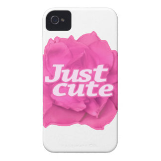 Just Cute Text over Pink Rose iPhone 4 Case