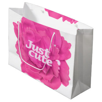 Just Cute Text over Pink Rose Large Gift Bag