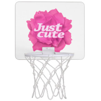 Just Cute Text over Pink Rose Mini Basketball Hoop