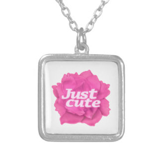 Just Cute Text over Pink Rose Silver Plated Necklace