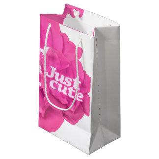 Just Cute Text over Pink Rose Small Gift Bag