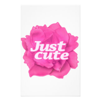 Just Cute Text over Pink Rose Stationery