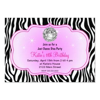"Just dance disco Diva party 5"" X 7"" Invitation Card"