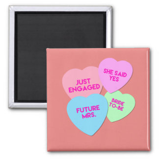 Just Engaged Candy Hearts Magnet