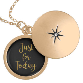 """Just for Today"" AA NA recovery quote gift locket"