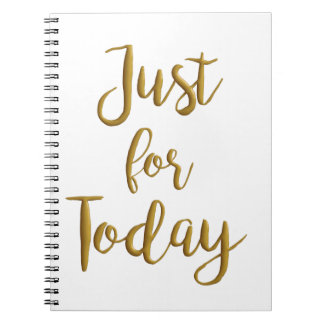 Just For Today recovery quote AA NA slogan gift Spiral Note Book