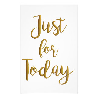 Just For Today recovery quote AA NA slogan gift Stationery