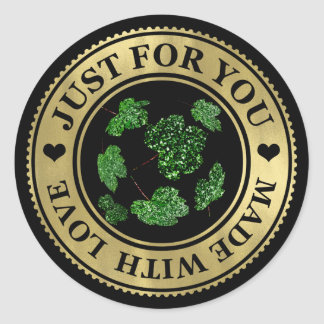 Just for You Made with Love Black Gold Maple Leaf Classic Round Sticker
