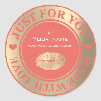 Just For You Made With Love Cora Kiss Web Gold Classic Round Sticker