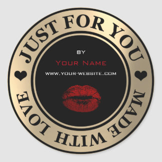 Just For You Made With Love Red Kiss Web Gold Blac Classic Round Sticker