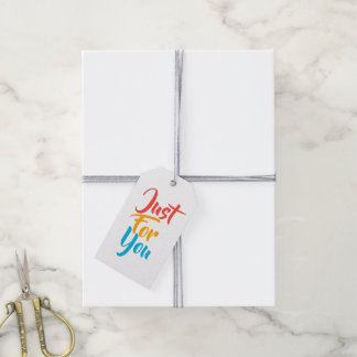 Just for you typography rainbow pattern gift tags