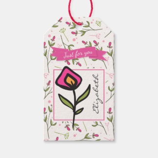 Just for you Wildflower with Pink Orange Petals Gift Tags