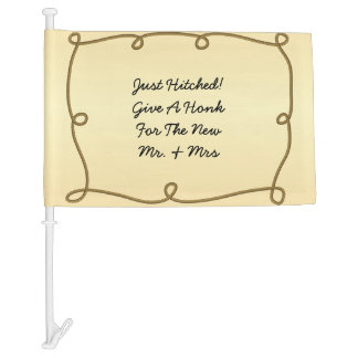 Just Hitched Just Married Wedding Car Flag