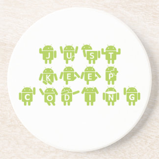 Just Keep Coding (Android Bug Droid Grey Bckgrnd) Drink Coasters