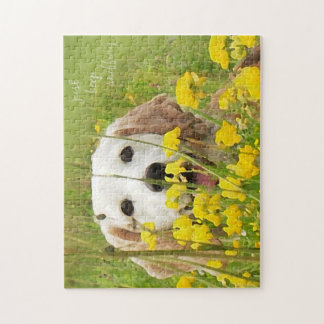 just keep sniffing beagle in wildflowers jigsaw puzzle