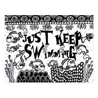 Just Keep Swimming postcards - Spoonie