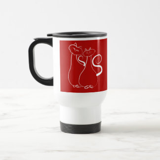Just Love Cat Couple Romantic Artistic Elegant Travel Mug