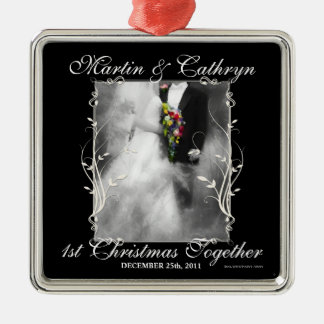 Just Married 1st Christmas Custom Year Metal Ornament