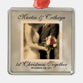 Just Married 1st Christmas Custom Year Silver-Colored Square Ornament