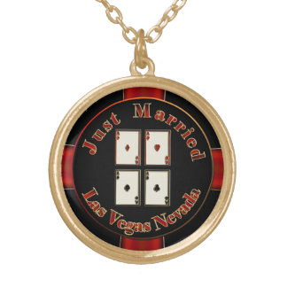 Just Married 4 Aces Las Vegas Nevada Poker Chip Gold Plated Necklace