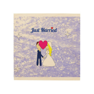 """Just Married 8""""x8"""" Wood Wall Art"""