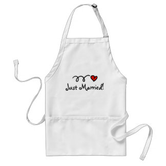Just married apron with cute heart