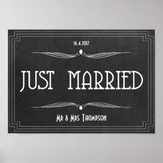 Just married art deco wedding poster