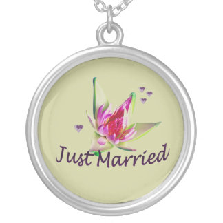 """""""Just Married"""" Asian Flower Necklace"""
