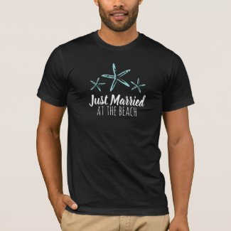 Just Married at the beach men shirt