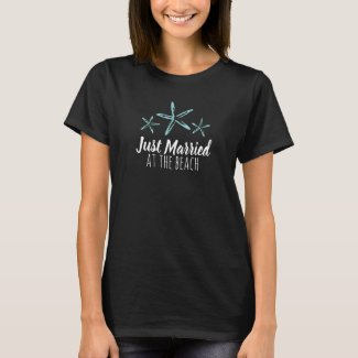 Just Married at the beach wedding blue starfish T-Shirt