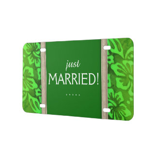 Just Married Beach Wedding Cute Cool License Plate