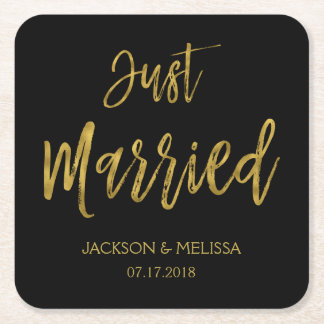 Just Married Black and Gold Foil Coasters