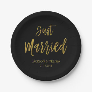 Just Married Black and Gold Foil Paper Plates