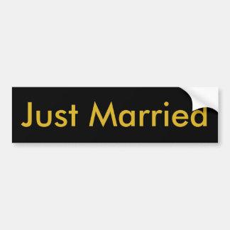 Just Married Black Bumper Sticker, Gold Letters Bumper Sticker