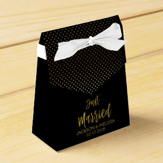 Just Married Black & Gold Foil Polka Dots Favor Box
