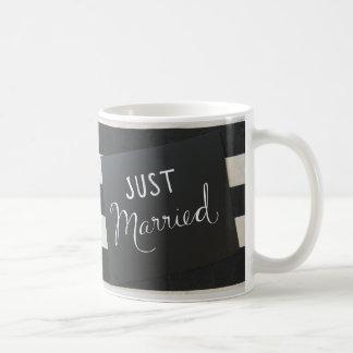JUST MARRIED BLACK & WHITE STRIPED MUG