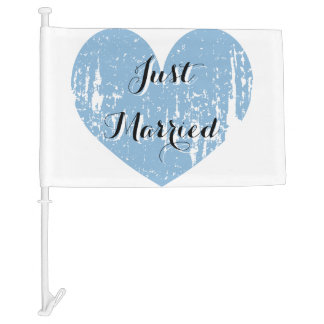 Just Married blue white heart car flag for wedding