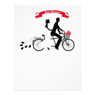 Just married bride and groom on tandem bicycle letterhead