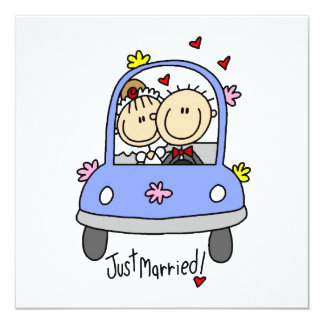 """Just Married Bride and Groom T-shirts and Gifts 5.25"""" Square Invitation Card"""