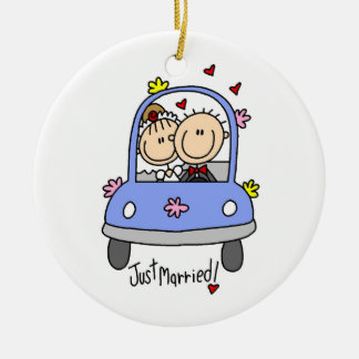 Just Married Bride and Groom T-shirts and Gifts Ceramic Ornament