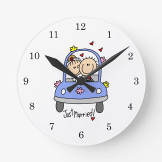 Just Married Bride and Groom T-shirts and Gifts Wallclock