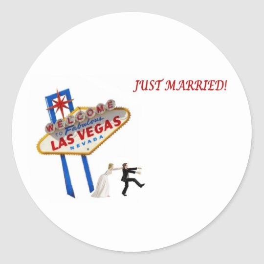 JUST MARRIED BRIDE CHASING GROOM STICKER