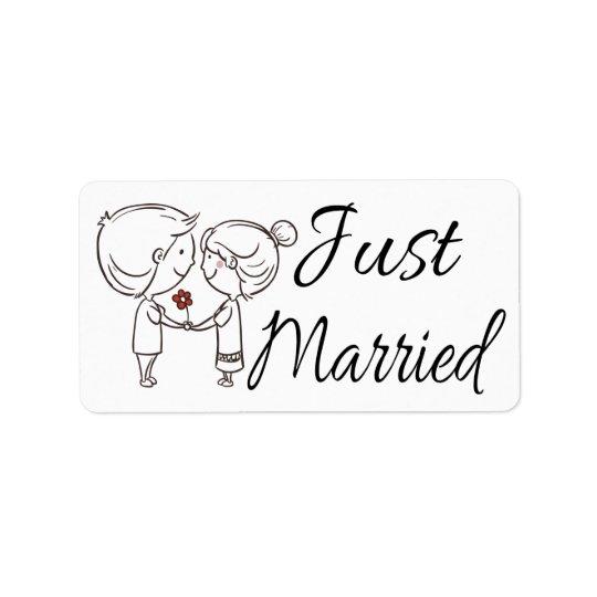 Just Married Bride & Groom Black & White Wedding Label