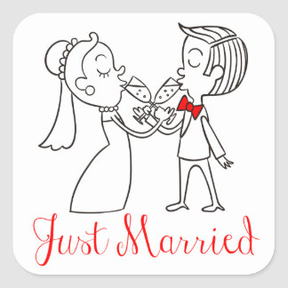 Just Married Bride & Groom, Wedding Red and Black Square Sticker