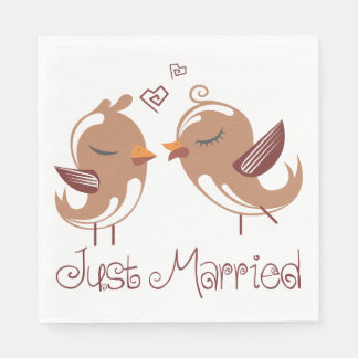 Just Married Brown & White Lovebirds Wedding Disposable Napkin