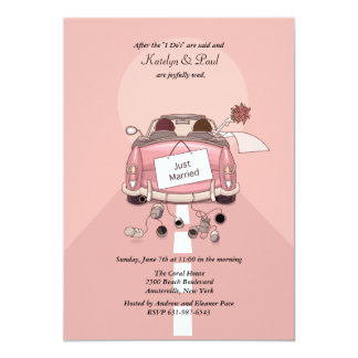 "Just Married (Brunet.) Post Wedding Brunch Invites 5"" X 7"" Invitation Card"