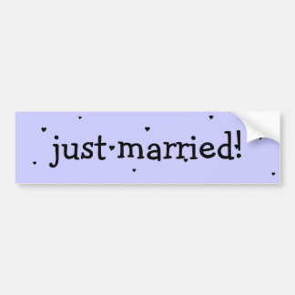 """just married!"" bumper sticker with hearts"