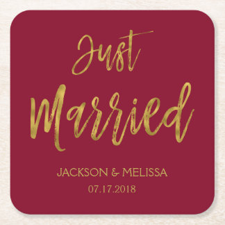 Just Married Burgundy and Gold Foil Coasters