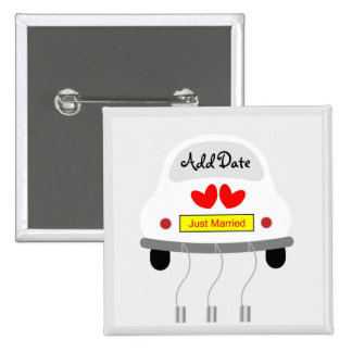 """Just Married"" Car 2 Inch Square Button"