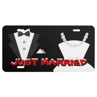 Just Married Car Auto License Plate Cover